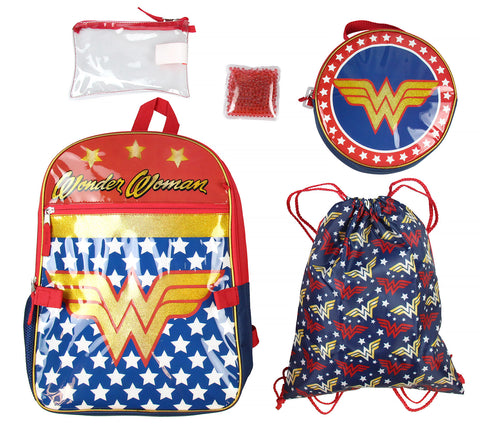 DC Comics Wonder Woman  Backpack Lunch Bag Pencil Case Drawstring Sportpack 5pc Set