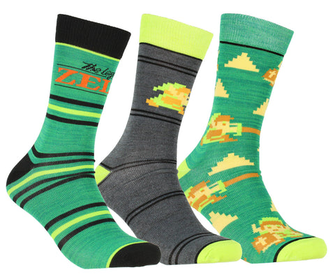 The Legend of Zelda 3 Pack Multi-design Adult Crew Socks