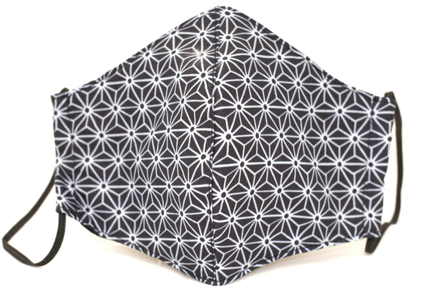 Black/white flower print/ Premium Reusable Masks (w/ optional filter insert pocket) - Limited Edition Prints