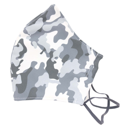 Grey camo  Premium Reusable Masks (w/ optional filter insert pocket) - Limited Edition Prints