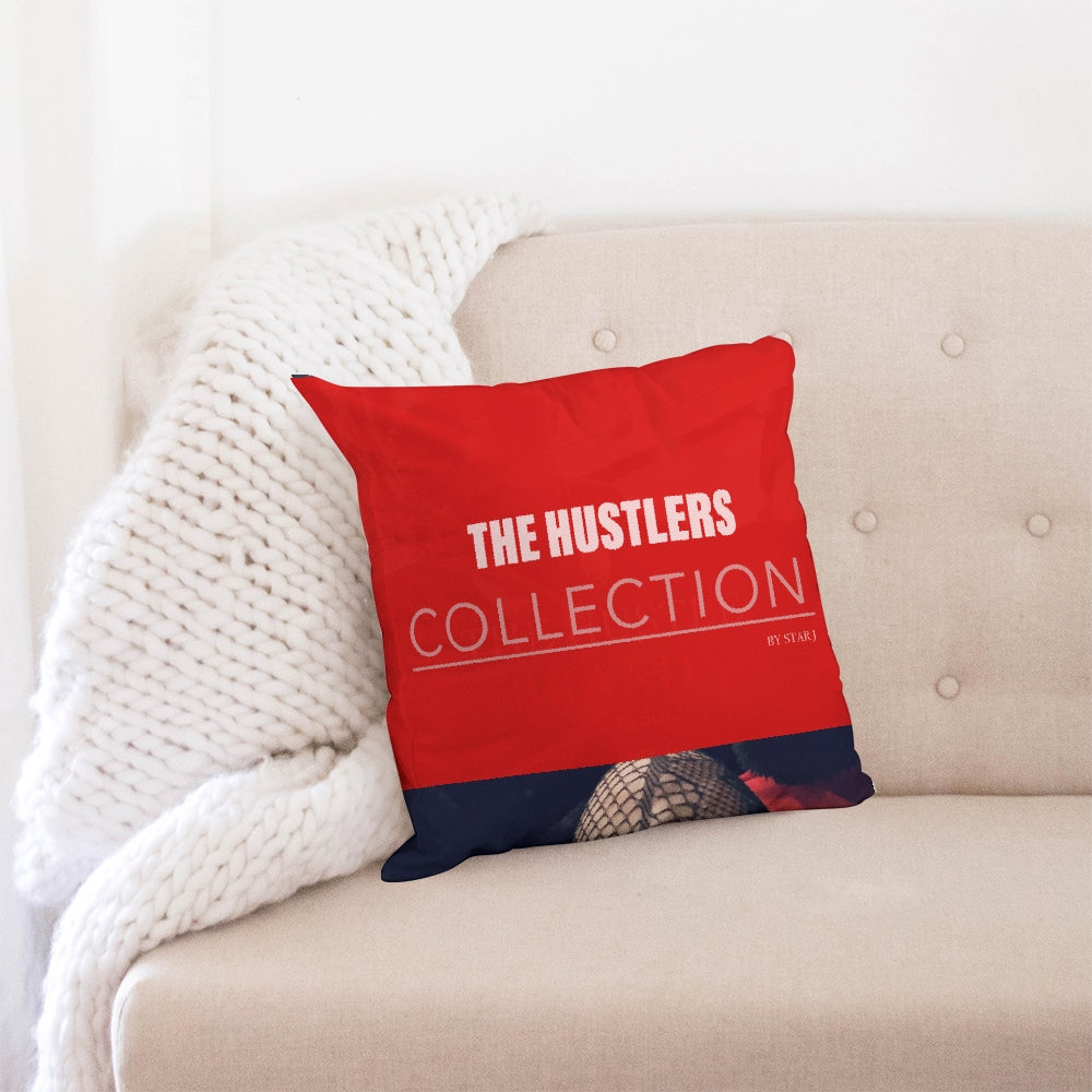 "THE HUSTLE BRAND by STAR J Throw Pillow Case 18""x18"""