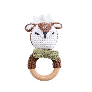 Animal Teether Rings | Dummy Clip - Beech Wood, Cotton Crochet