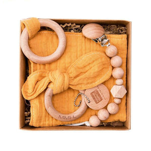 Security Blanket | Dummy Clip | Teething Ring - 3 Set Beech Wood, Cotton Cloth