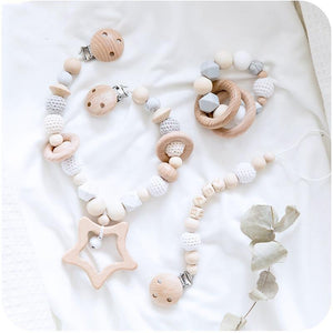 Pram Garland | Dummy Clip | Teether - 3 Set Beech Wood, Cotton Crochet