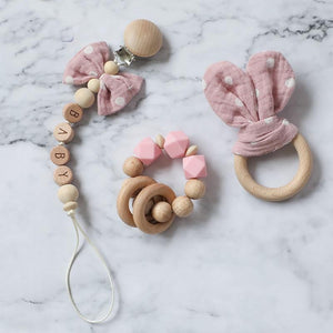 Dummy Clip | Teethers - Beech Wood, Cotton Cloth