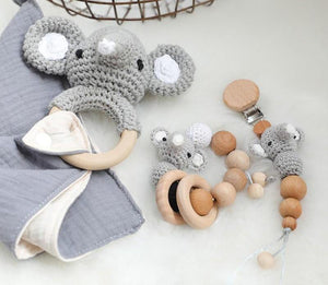 Elephant Security Blanket | Dummy Clip | Teether - 3 Set Beech Wood, Cotton Crochet
