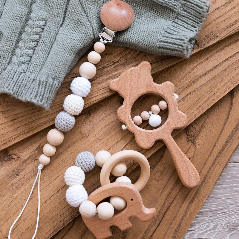Dummy Clip | Teether | Rattle - 3 Set Beech Wood, Cotton Crochet