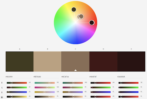 Color wheel and palette