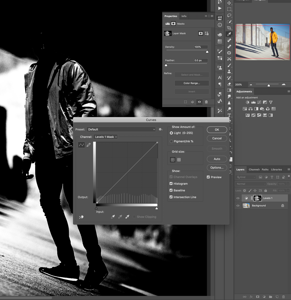 adjust the layer mask with a curves adjustment