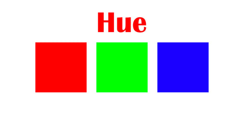 Image of three different colors illustrating hues