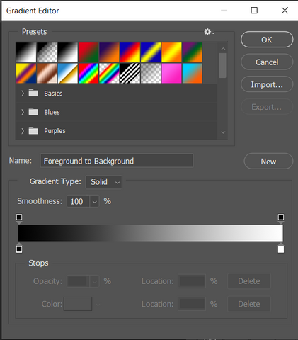 Color gradient tool in Photoshop