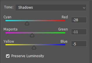 Color balance tool in Photoshop