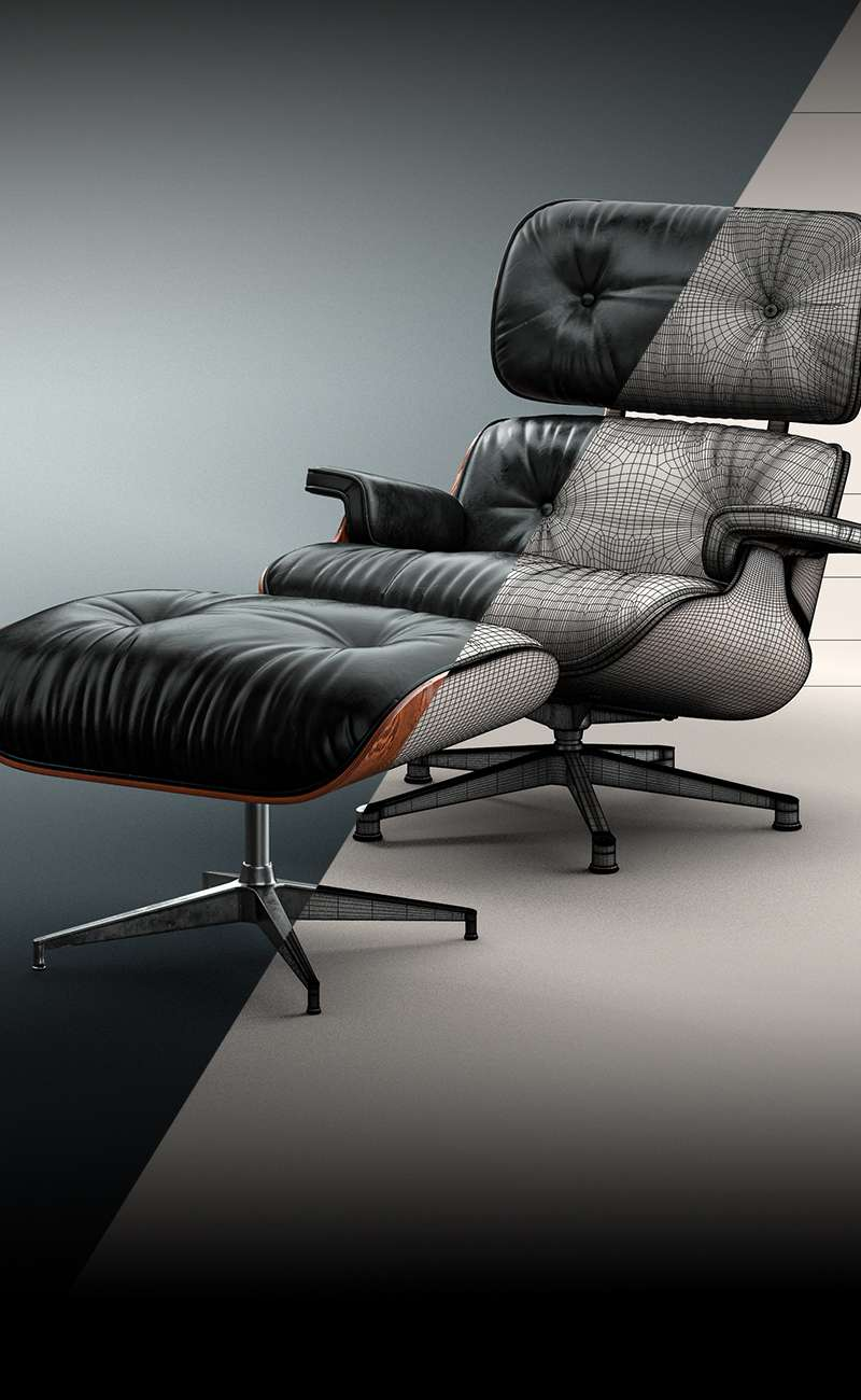 2nd Generation Eames Lounge Chair and Ottoman with Down Inlays 3D Model
