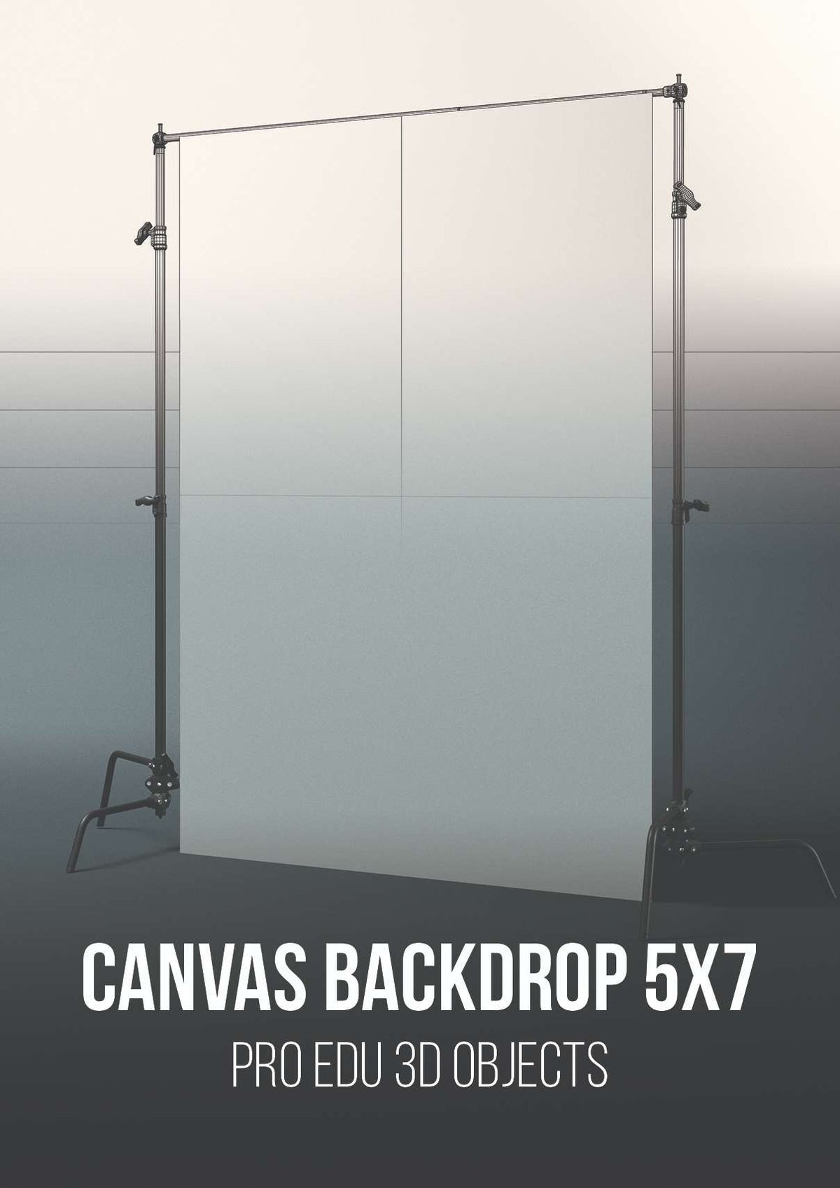 C-Stand Backdrop Support With 5x7 Canvas 3D Model