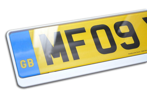 Premium White Number Plate Holder for Peugeot - Number Plate Holder