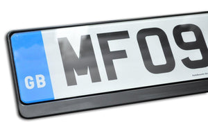 Premium Black Number Plate Holder for Land Rover with Logo - Number Plate Holder