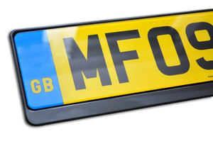 Premium Black Number Plate Holder for Skoda with Logo - Number Plate Holder