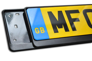 Premium Black Number Plate Holder for Audi with Logo - Number Plate Holder