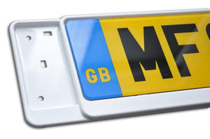 Premium White Number Plate Holder for Chevrolet - Number Plate Holder