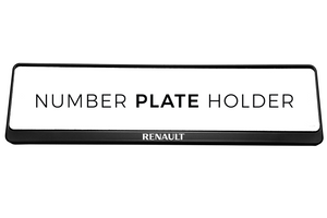 Premium Black Number Plate Holder for Renault with Logo - Number Plate Holder