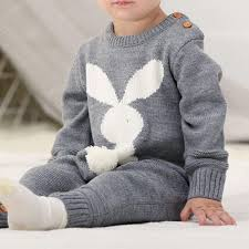 Unisex Rabbit Knitted Onesie