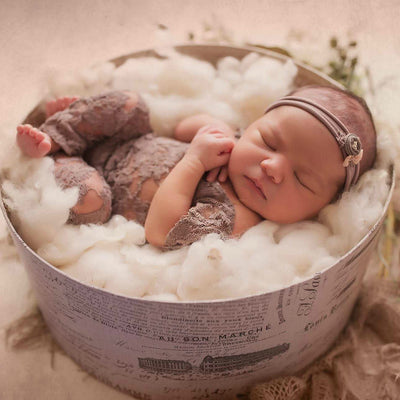 Newborn Photography Baby Girl Full Length Lace Romper