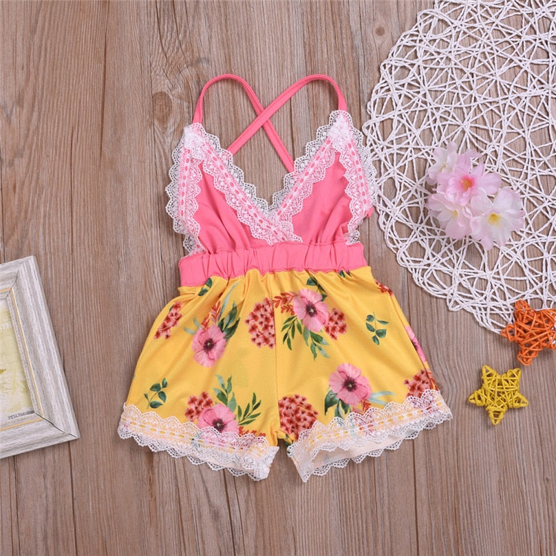 Girls Sleeveless Floral Lace Strap Romper