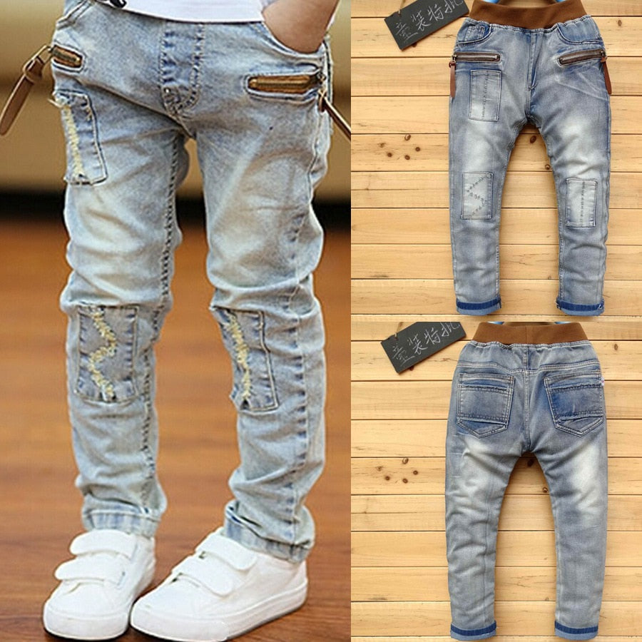 Boys Denim Faded Skinny Jeans