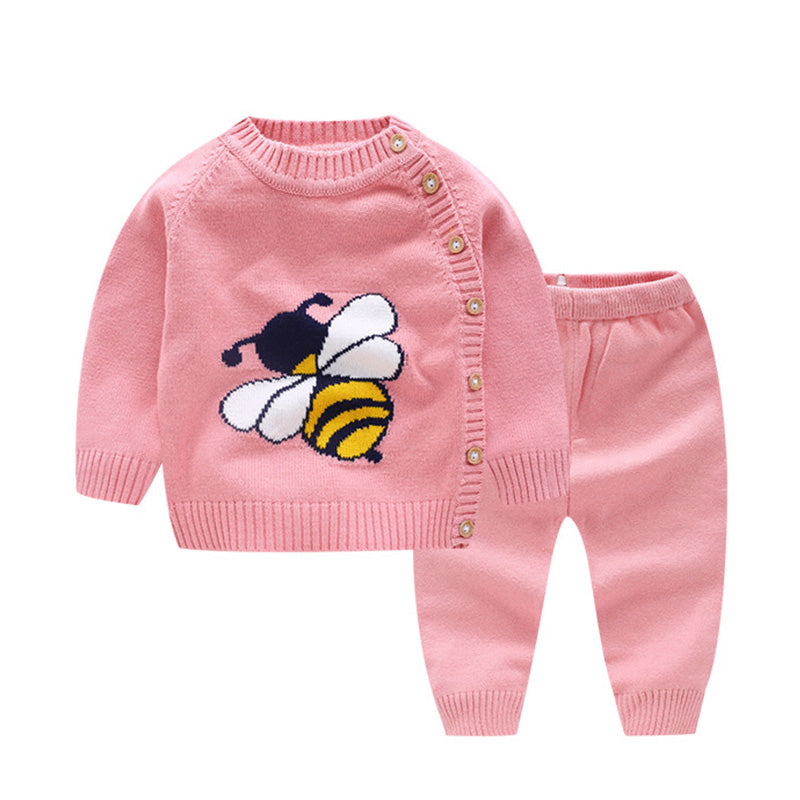 2 Pcs Unisex Bee Sweater & Pants Set
