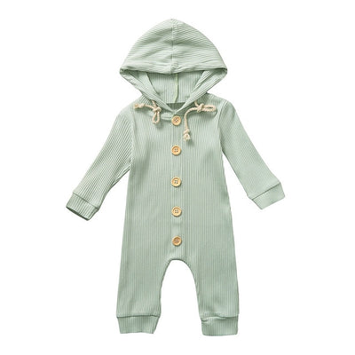 Unisex Long Sleeve Button Solid Hooded Onesie