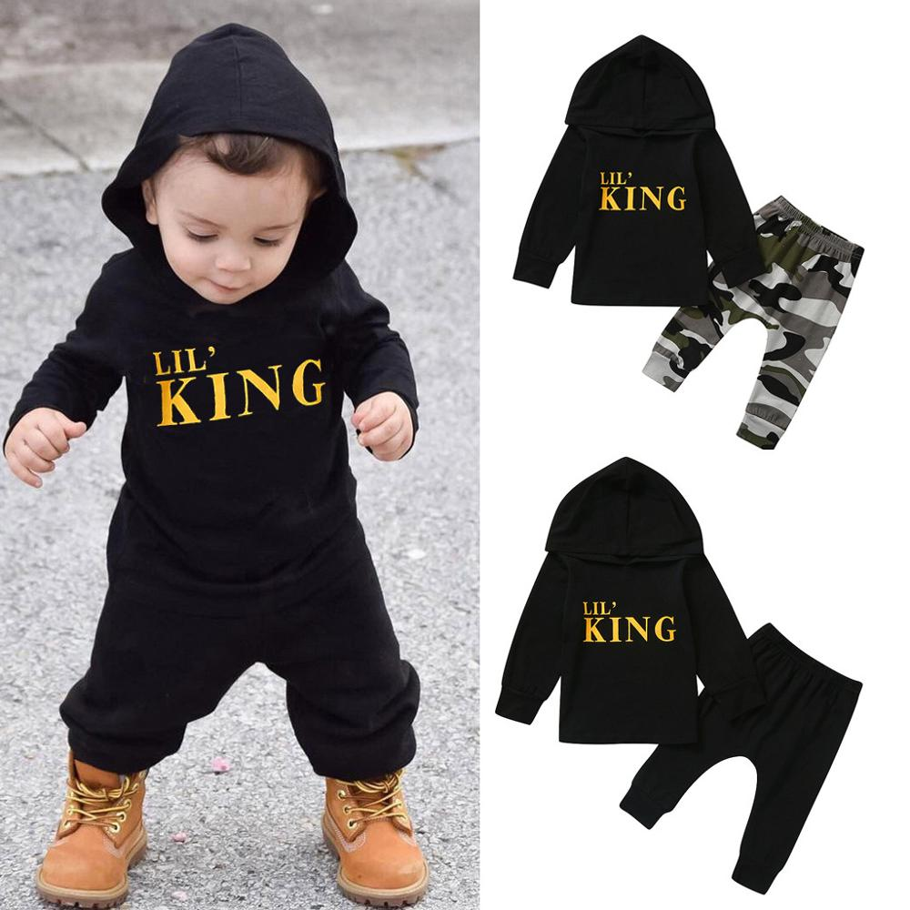 "2 Pcs Boys ""Lil' King"" Letter Hoodie & Pants Set"