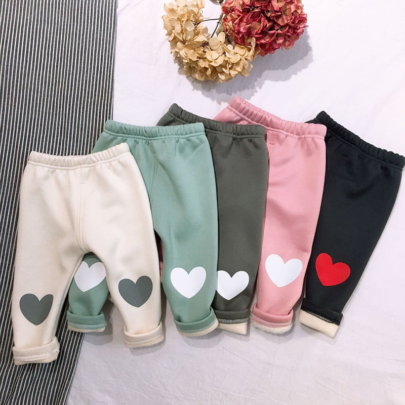 Girls Warm Heart Print Pants
