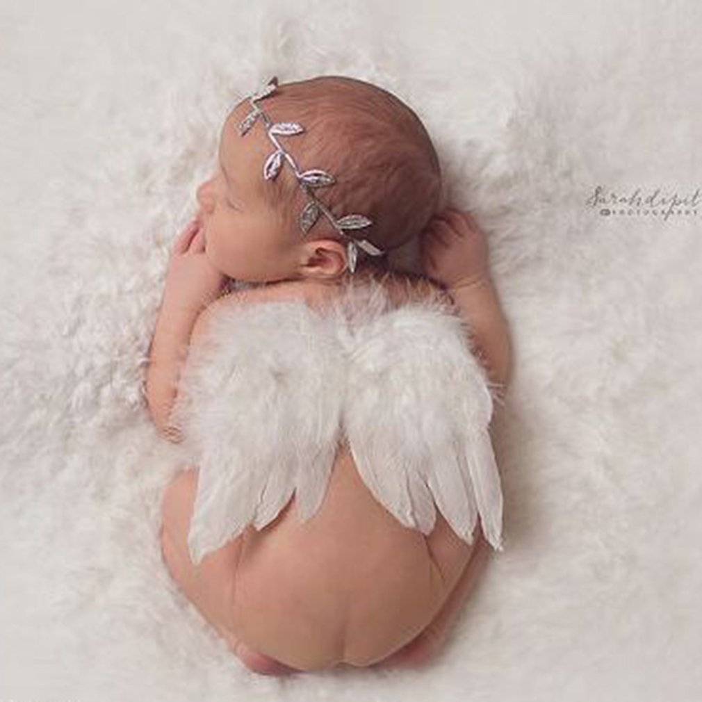 2 Pcs Newborn Girls Angel Feather Wings & Headband Set