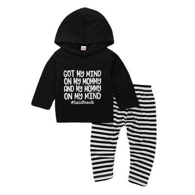 "2 Pcs Unisex ""Got my mind on my Mommy"" Hoodie & Pants Set"