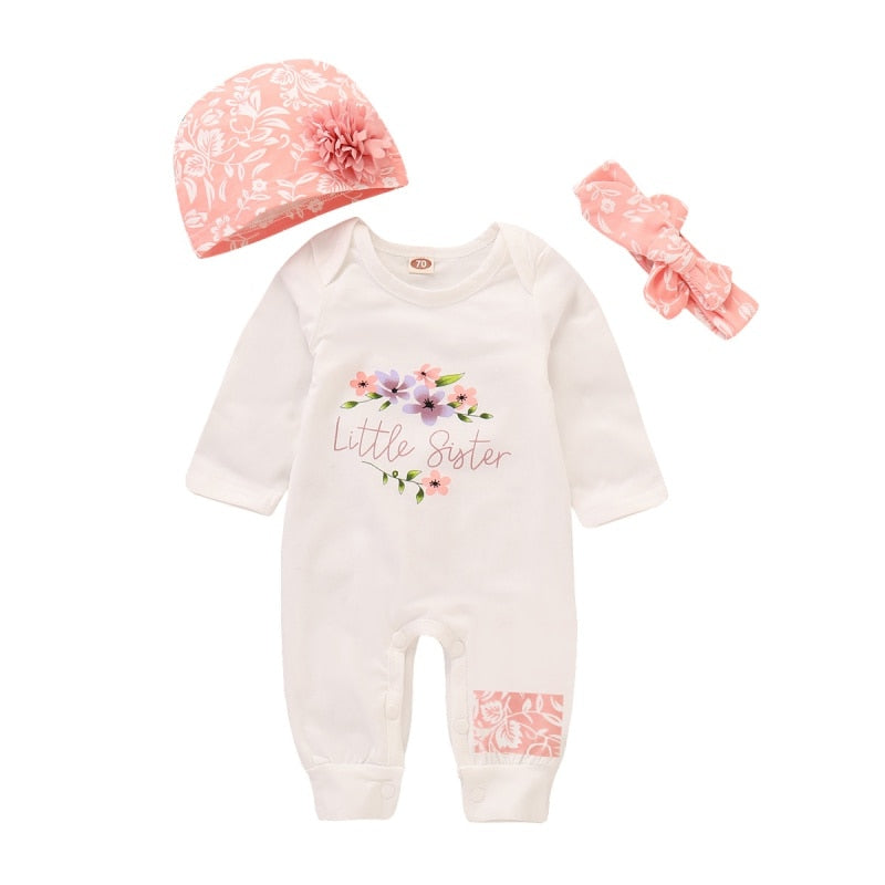 "3 Pcs Girls ""Little Sister"" Onesie Set"
