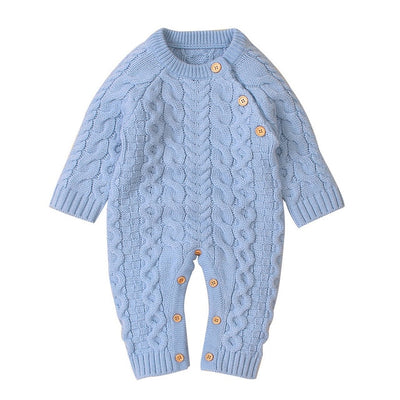 Unisex Knitted Long Sleeve Single Breasted Onesie