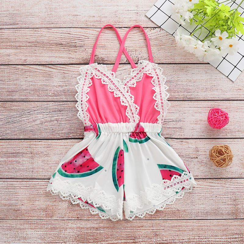 Girls Sleeveless Watermelon Romper