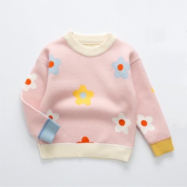 Girls Cute Daisy Velvet Knit Sweater