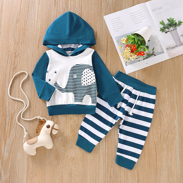 2 Pcs Boys Hooded Elephant Sweatshirt and Pants Set