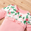 3 Pcs Girls Floral Long Sleeve Top, Pants & Headband Set