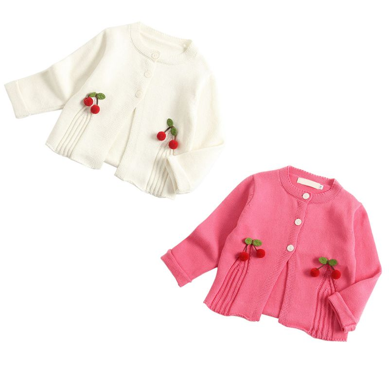 Girls Cherry Pom Pom Knit Cardigan