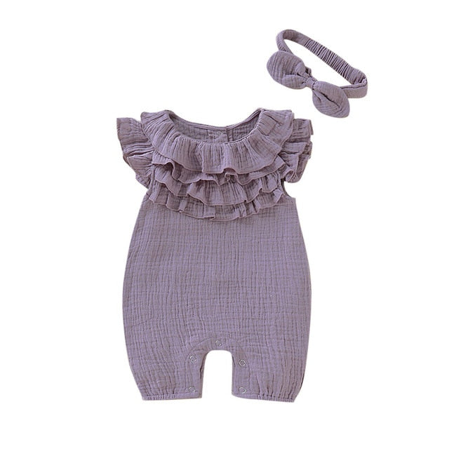 Girls Ruffle Lace Romper & Headband Set