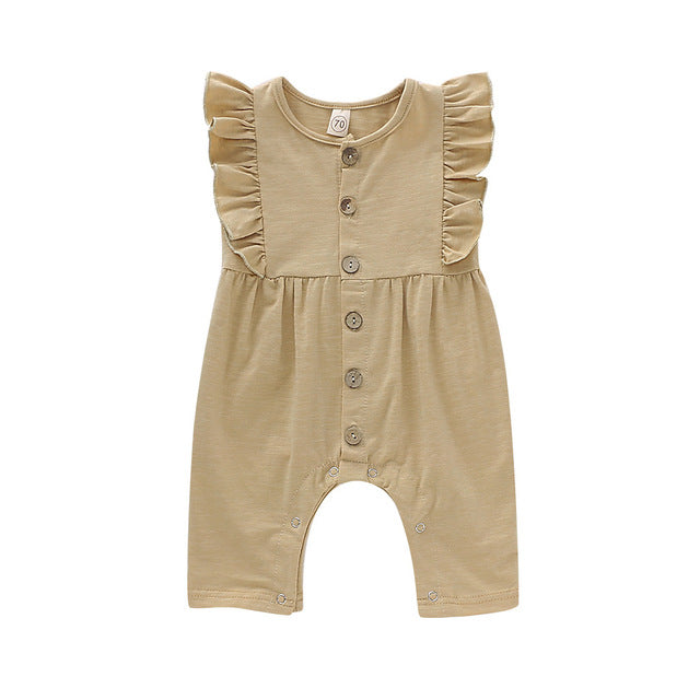Girls Sleeveless Button Ruffles Floral Romper