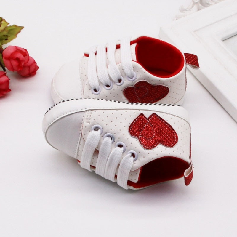 Girls Heart Print Polka Dot Shoes