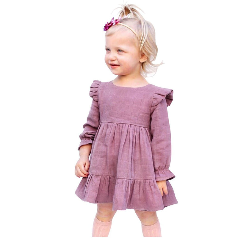 2 Pcs Girls Solid Dress & Headband Set