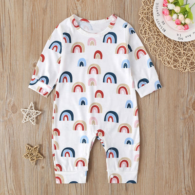 Unisex Long Sleeve Rainbow Striped Onesie