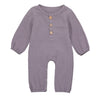 Unisex Solid O-Neck Long Sleeve Onesie