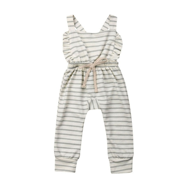 Girls Backless Striped Ruffle Romper