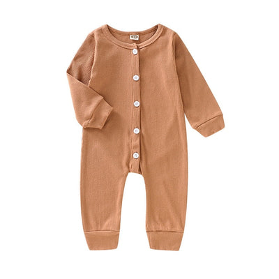 Unisex Winter Solid Button Long Sleeve Onesie