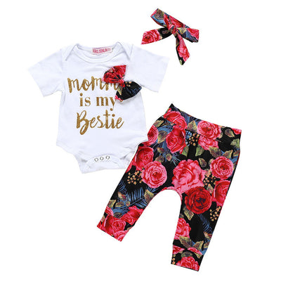 3 Pcs Girls Letter Onesie, Flower Pants & Headband Set